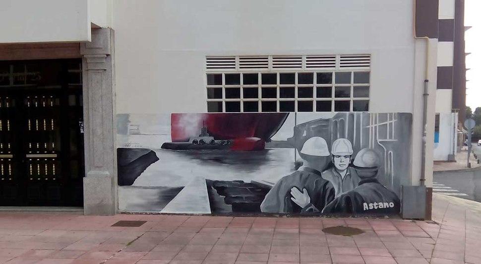 Mural nas vivendas en San Valentín, Fene.