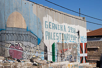 Aida Camp - Mural of Guernica and Palestine in Aida camp, Bethlehem, Palestine