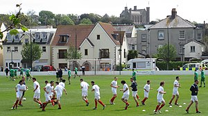 Muratti Vase -  The Jersey and Guernsey teams warming up before the 2012 final