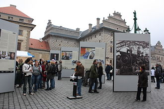 Post Bellum - Open Air Exposition opening organised in 2009 by Post Bellum in Prague.