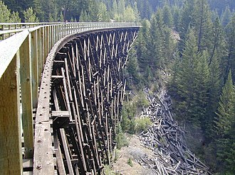 Kettle Valley Railway - Myra Canyon Rail bridge near Kelowna on August 2, 2003, one month before it was destroyed by a forest fire