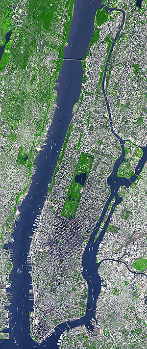 Satellite view of Manhattan.