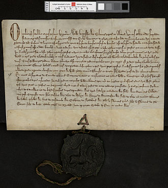 Parchment - Latin Grant written on fine parchment or vellum with seal dated 1329