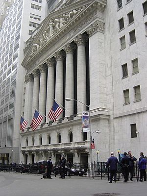 The New York Stock Exchange building is blocka...