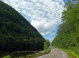 New York State Route 214 - Image: NY 214 looking north into Stony Clove Notch