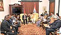 Narendra Modi meeting the Prime Minister of Papua New Guinea, Mr. Peter O'Neill, in Jaipur on August 21, 2015. The Union Minister for External Affairs and Overseas Indian Affairs, Smt. Sushma Swaraj is also seen (1).jpg