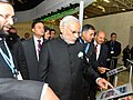 Narendra Modi visiting the India Pavilion, at COP21 Summit, in Paris, France. The Minister of State for Environment, Forest and Climate Change (Independent Charge), Shri Prakash Javadekar and the Secretary.jpg