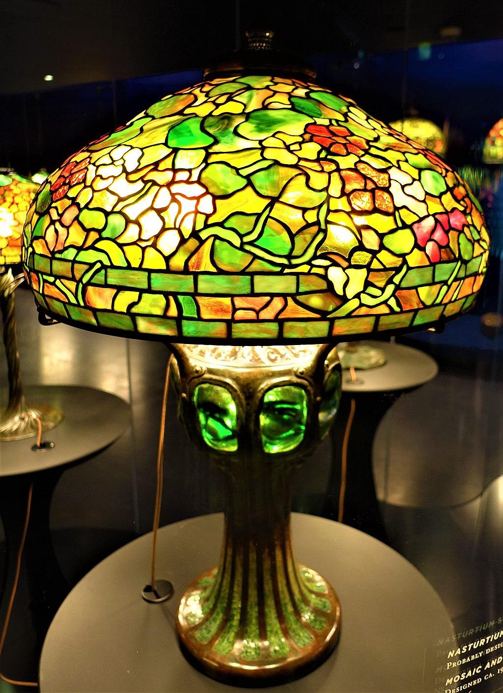 Nasturtium Shade with Mosaic Turtleback Tile Base - Tiffany Lamp - www.joyofmuseums.com - New-York Historical Society