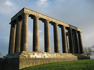 William Henry Playfair - The unfinished National Monument, Edinburgh, begun in 1826