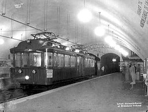 Nationaltheatret (station) - Tram at Nationaltheatret in 1928