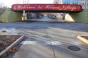 "North Center, Chicago - ""Welcome to Roscoe Village"" Painted Sign on Roscoe at the Train Tracks in 2010"