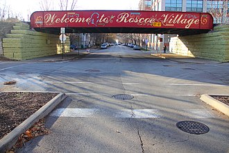 """North Center, Chicago - """"Welcome to Roscoe Village"""" Painted Sign on Roscoe at the Train Tracks in 2010"""