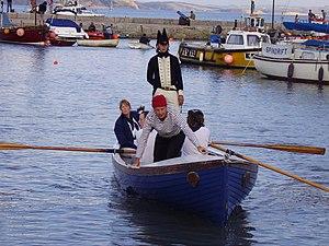 John Richards Lapenotière - Lapenotière is brought into Lyme Regis (re-enactment 2005)