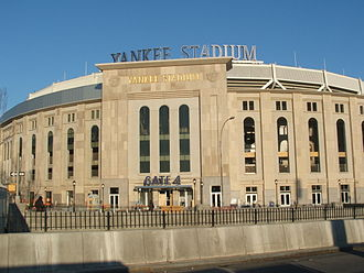 Yankee Stadium - The Indiana limestone exterior, shown at Gate 4, mirrors that used on the original Yankee Stadium in 1923