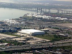 Newark Bay with the New Jersey Turnpike and Newark Bay Bridge visible.