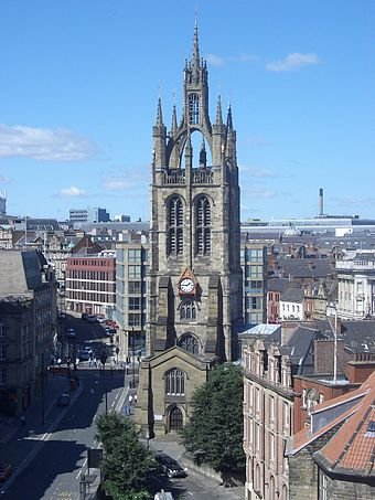St. Nicholas' Cathedral, as seen from the Castle Newcastle upon Tyne, England.jpg