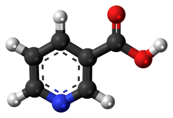 Ball-and-stick model of the niacin molecule, also known as Vitamin B 3 and nicotinic acid, an essential human nutrient. Colour code (click to show) : Black: Carbon, C : White: Hydrogen, H : Red: Oxygen, O : Blue: Nitrogen, N