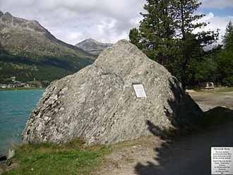"Thus Spoke Zarathustra - Nietzsche wrote in Ecce Homo that the central idea of Zarathustra occurred to him by a ""pyramidal block of stone"" on the shores of Lake Silvaplana."
