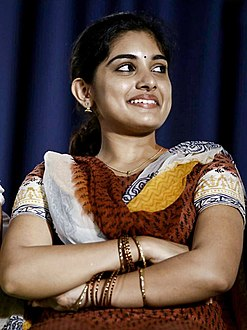 Nivetha Thomas at Papanasam success meet (cropped).jpg