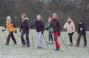 Nordic walking - Nordic Walkers in Ilkley, West Yorkshire.