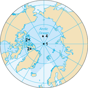 Map of the North Pole. The Geografic North Pol...