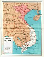 Map of a partitioned Vietnam from a 1964 U.S. Government pamphlet. Communist-controlled North Vietnam is in red; almost all of the ground-fighting was in the non-communist South.