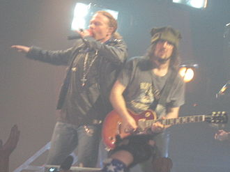 "Ron ""Bumblefoot"" Thal - Bumblefoot and Guns N' Roses singer Axl Rose during a concert in 2006."