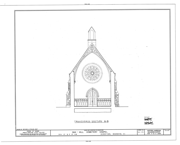 File:Oak Hill Cemetery, Chapel, 3001 R Street Northwest, Northeast of gatehouse, Washington, District of Columbia, DC HABS DC,GEO,41B- (sheet 6 of 14).png