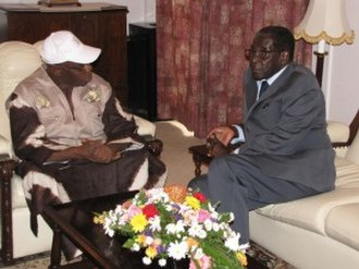 Olusegun Obasanjo - AU Observation Head – President General Olusegun Obasanjo visits President Robert Mugabe -Zimbabwe General Election 2013