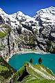 Oeschinensee with the lake's surrounding peaks.jpg