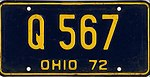Ohio 1972 license plate - Number Q 567.jpg
