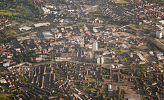Oldham town centre, aerial view from north.JPG