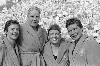 Tineke Lagerberg - The Dutch medley team that broke the 4×100 m medley Olympic record in 1960: Ria van Velsen, Tineke Lagerberg, Erica Terpstra and Ada den Haan.