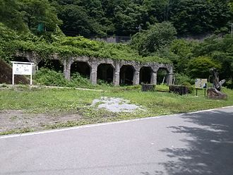 Agatsuma Line - The remains of the former Ōshi Station in June 2013