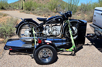 Motorcycle trailer - An open trailer designed specifically for carrying a motorcycle -- with a 1954 BMW R67/3