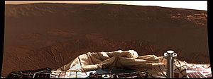 Opportunity mission timeline - First color panorama taken by Opportunity, showing the Martian landscape at Meridiani Planum, shortly after it touched down in 2004