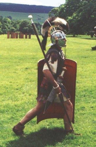 Optio - Roman Optio in a reenactment at Chesters Fort in May 2000