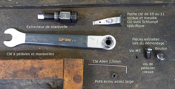 Liste des outils pour démonter une manivelle d'un pédalier Schlumpf