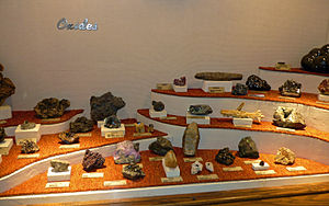 Oxide minerals - Oxide mineral exhibit at the Museum of Geology in South Dakota