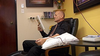 "Naturopathy - Person undergoing ozone IV therapy with ultraviolet irradiation. According to the FDA, ""Ozone is a toxic gas with no known useful medical application in specific, adjunctive, or preventive therapy."""