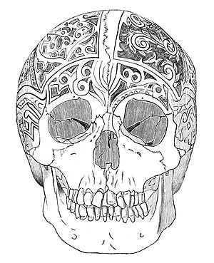 PSM V18 D765 Negrito skull of borneo carved by the dayaks.jpg