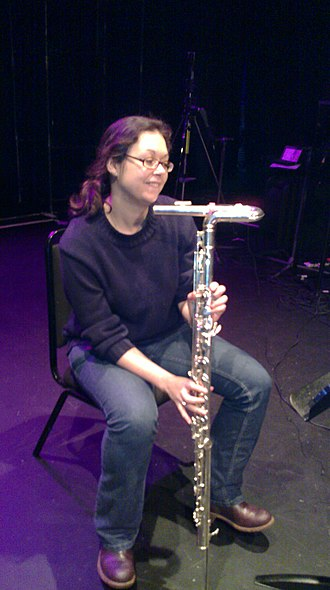 Bass flute - An upright bass flute being played by Carla Rees