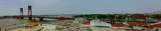 Palembang - Panorama of Palembang from southeast to southwest as seen from Pasar 16 Ilir.