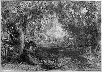 """Eclogue 4 - Samuel Palmer's pencil black and white landscape study, """"Eclogue IV: Thy Very Cradle Quickens"""" (1876)."""