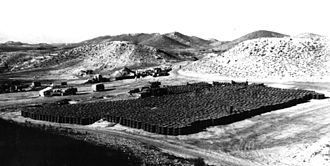 1966 Palomares B-52 crash - Barrels of contaminated soil being prepared for removal to the United States for processing