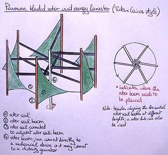 Panemone windmill - Image: Panemone bladed rotor WECS (Turks&Caicos)