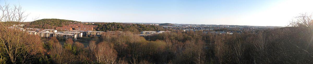 Panoramabillede over det østlige Göteborg fra udkigspunktet ved Väderbodarna i Biskopsgården