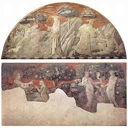 (Top): Creation of the Animals and Creation of Adam; (Below) Creation of Eve and the Expulsion.
