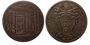 Jubilee (Christianity) - Papal States, Clement X (r. 1670-1676). 1 Piastre, 1675. Holy Year issue, mint of Rome.