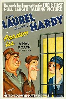 Locandina del film Muraglie (Pardon us), il primo lungometraggio di Laurel e Hardy (1931), che girarono anche in italiano.